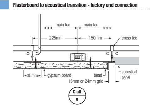 Plasterboard to acoustical transition - factory end connection main tee main tee 225mm 150mm cross