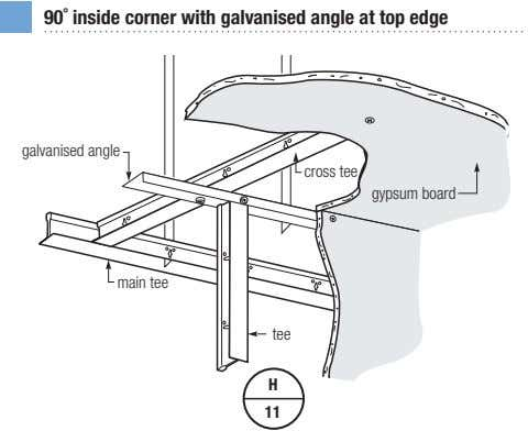 0˚ inside corner with galvanised angle at top edge galvanised angle cross tee gypsum board
