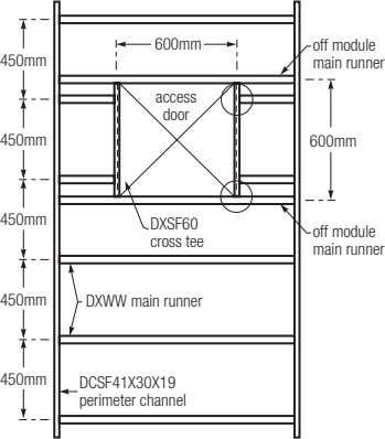 600mm off module 450mm main runner access door 450mm 600mm 450mm DXSF60 off module cross
