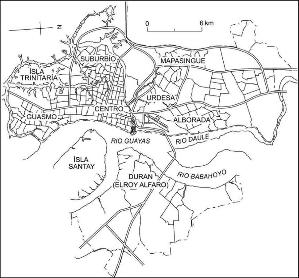 Situating Guayaquil 65 Fig. 3.2. The city of Guayaquil and its main urban divisions. private water