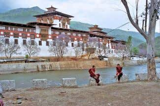 (according to the highest estimates). [160][161][162][163] Bhutanese monks in front of a Buddhist Monastery The