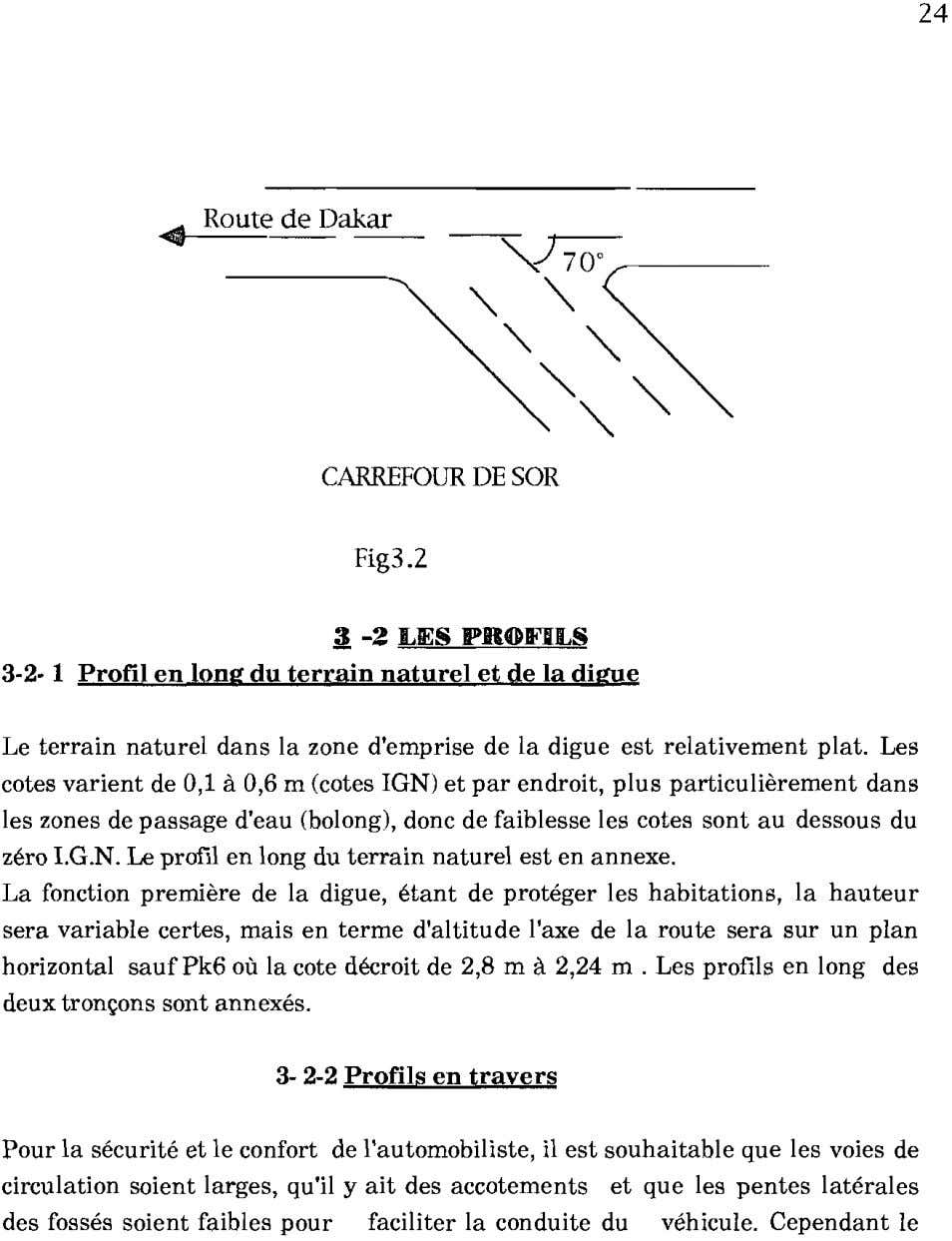 24 ~ Route de Dakar CARREFOUR DE SOR Fig3.2 3 -2 LIES PROIFILS 3-2· 1