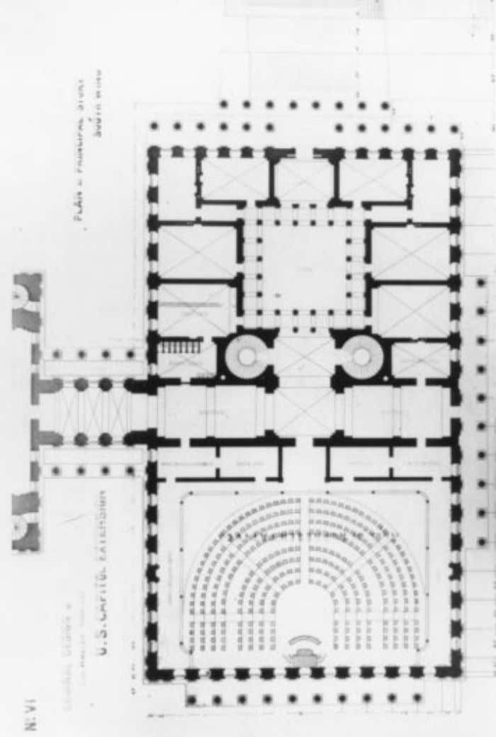 F ig . 4 . Thomas U. Walter's original floor plan for the House of