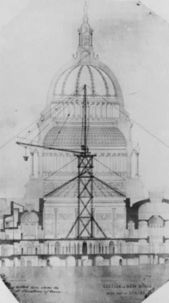 F ig . 6 . A section of the Capitol dome showing Meigs's derrick. (Courtesy