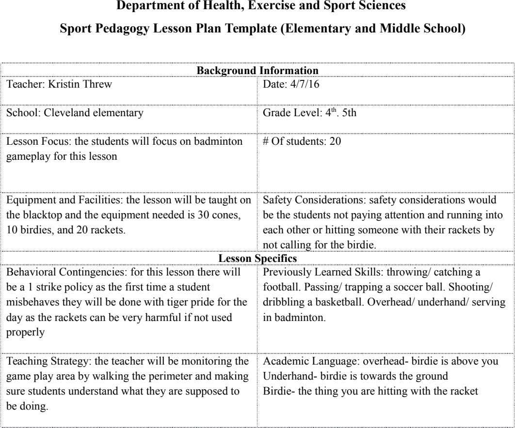 Department of Health, Exercise and Sport Sciences Sport Pedagogy Lesson Plan Template (Elementary and Middle School)