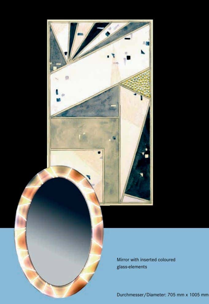 Mirror with inserted coloured glass-elements Durchmesser/Diameter: 705 mm x 1005 mm