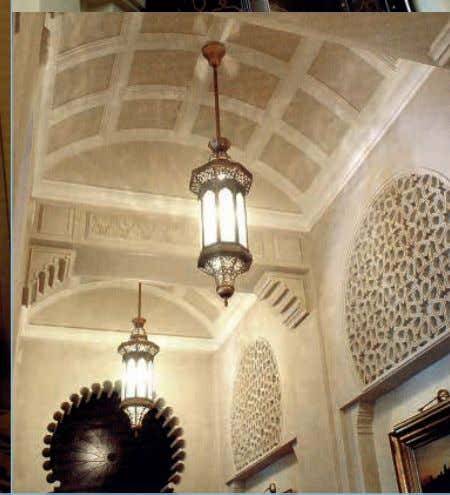 The magnificent main entrance dome supported by regal corbels that top the Moroccan style niches.