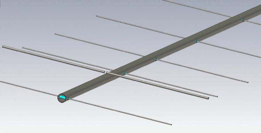 Fig.1 Simulation model of Yagi antenna with insulated elements passing through metal boom and elevated