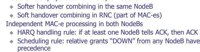 "if at least one NodeB tells ACK, then ACK Scheduling rule: relative grants ""DOWN"" from any"