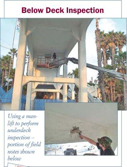 Below Deck Inspection Using a man- lift to perform underdeck inspection – portion of field