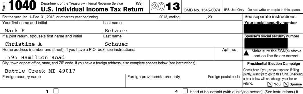 1040 Department of the Treasury—Internal Revenue Service (99) U.S. Individual Income Tax Return 2013 OMB