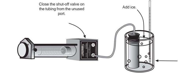 Close the shut-off valve on the tubing from the unused port. Add ice. HEAT ENGINE