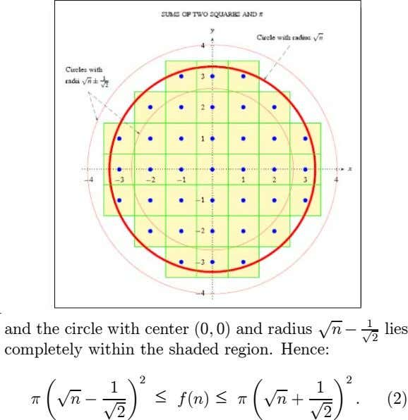 1 and the circle with center (0 ; 0) and radius p n ¡ p