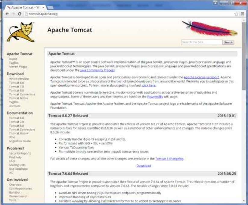 the home page of the tomcat official website as shown below. Browse to the link
