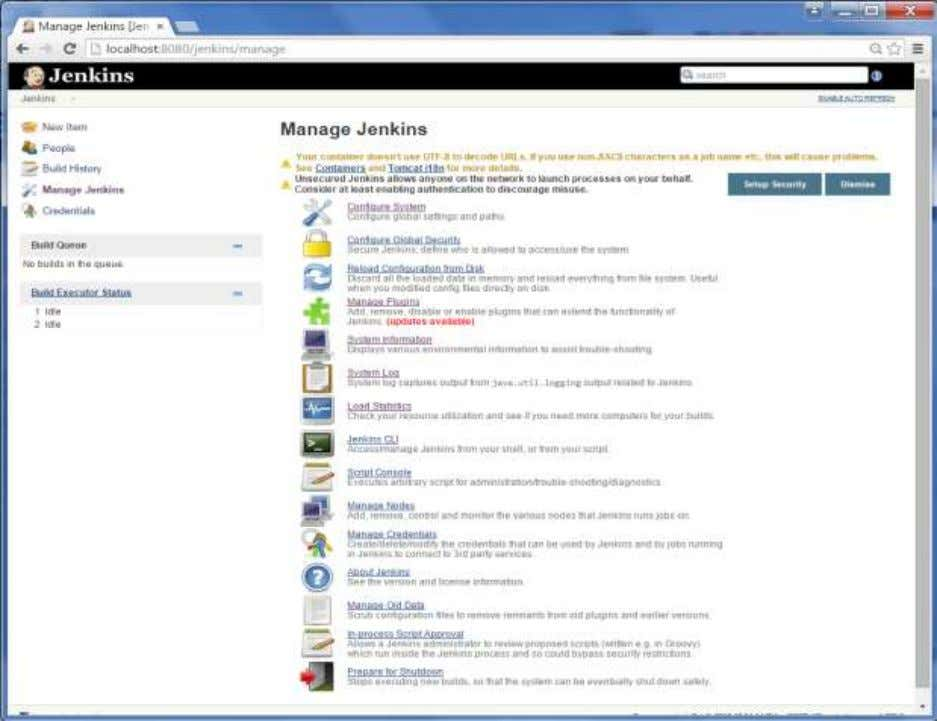 Jenkins In the next screen, cl ick the 'Manage Plugins' option. 11