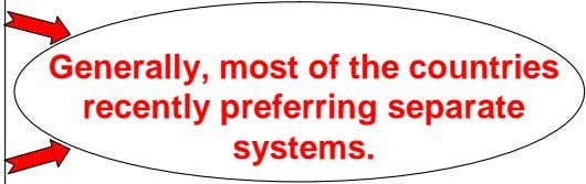 Generally, most of the countries recently preferring separate systems.