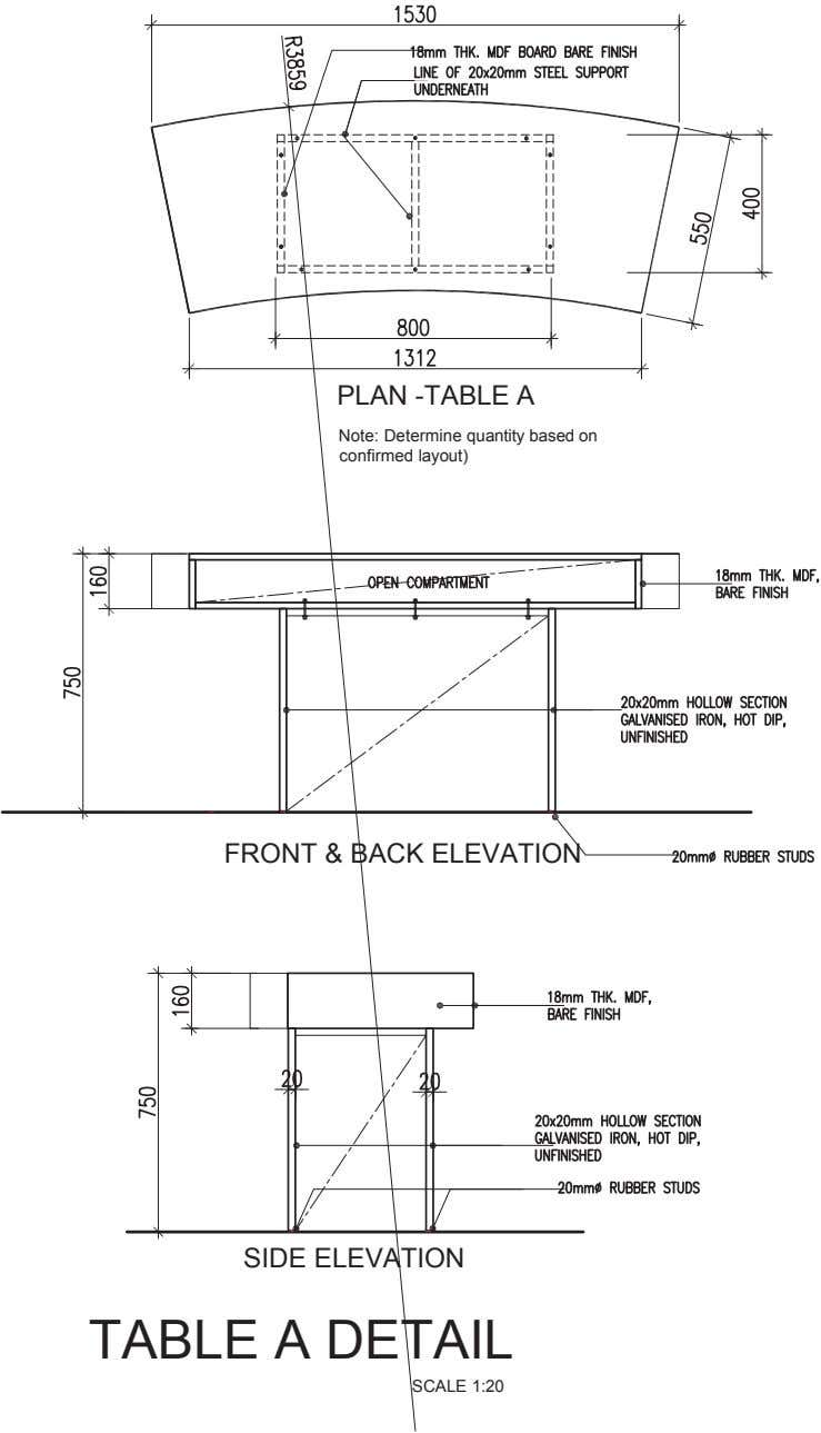 PLAN -TABLE A Note: Determine quantity based on confirmed layout) FRONT & BACK ELEVATION SIDE