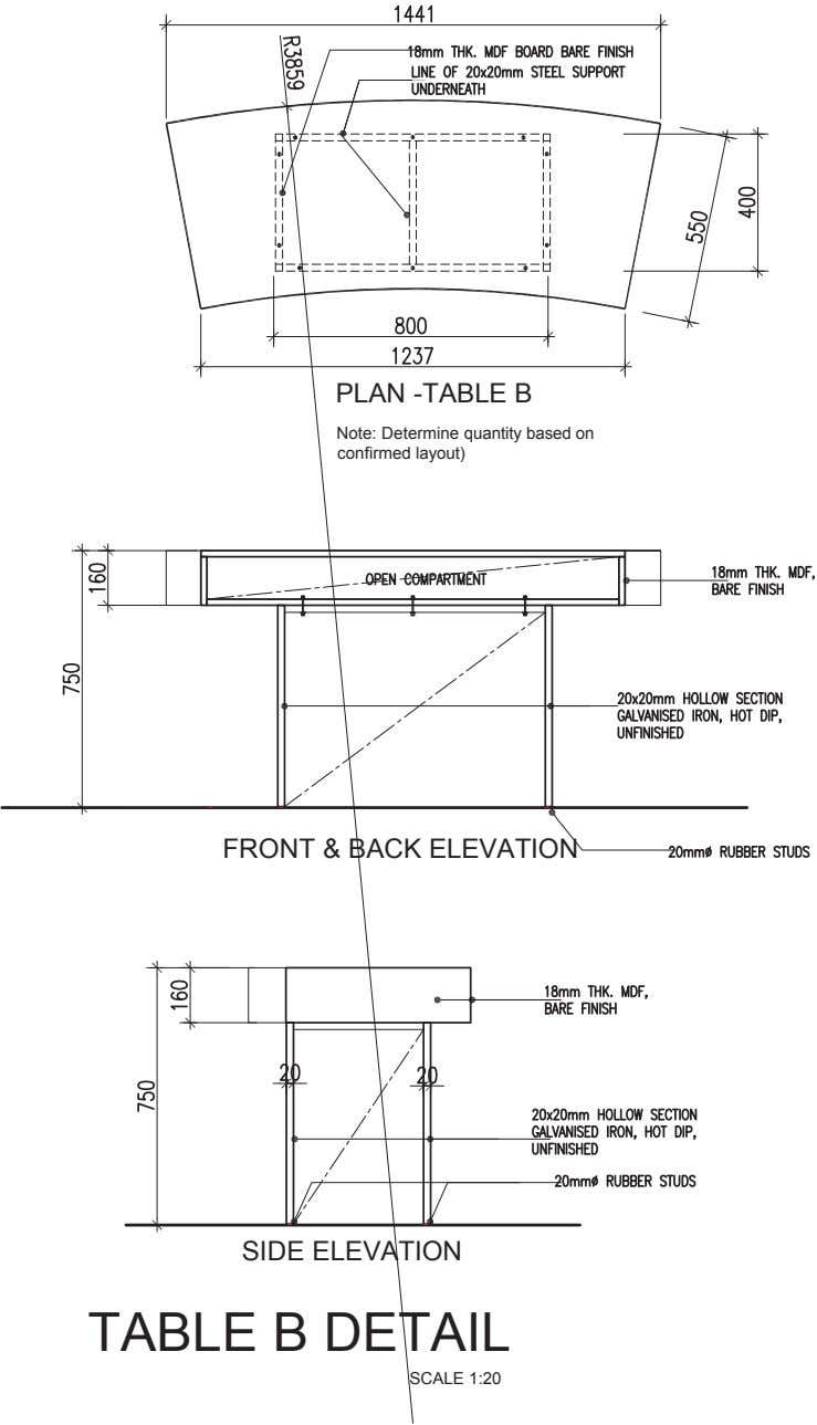 PLAN -TABLE B Note: Determine quantity based on confirmed layout) FRONT & BACK ELEVATION SIDE