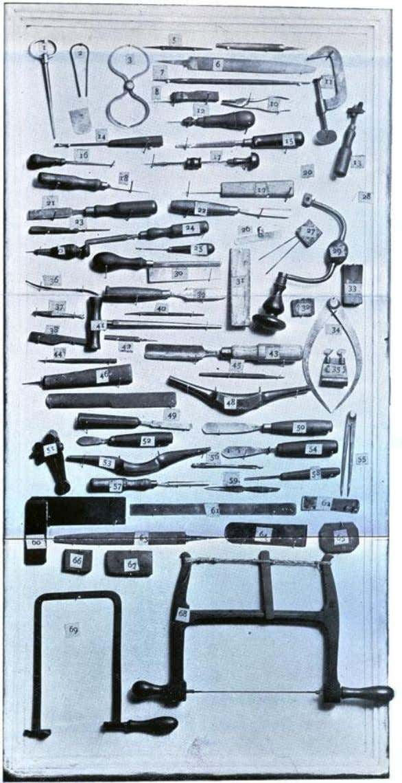Illustration of Tools used in Violin Making by Walter H. Mayson.