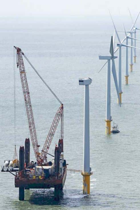 Fig. 12: Installation of the rotor blades on an offshore wind turbine. Source: Siemens.