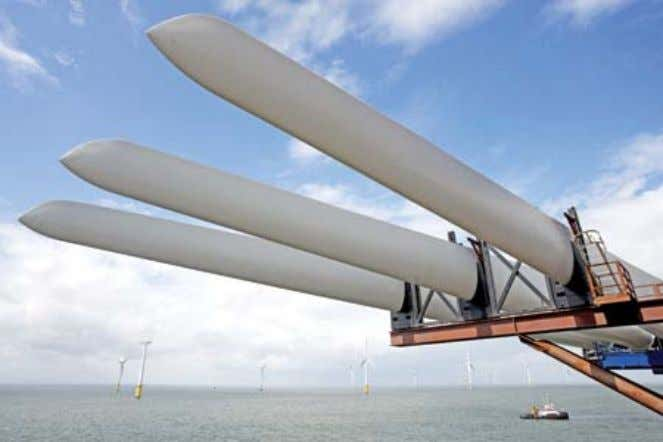 Fig. 13: Blades ready for offshore installation. Source: Siemens. Fig. 14: Offshore 3.6 MW Siemens
