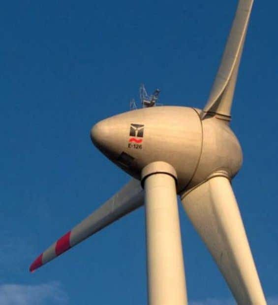 turbine's blades are tilted to reduce noise emissions. Fig. 18: Enercon E-126, 7 MW wind turbine.