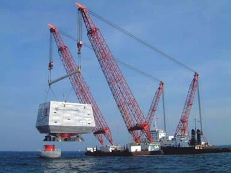 Fig. 50: Offshore transformer barge installation. Source: Repower. GRID CONNECTION Connection of the land cables