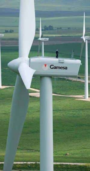 the blade and sensitive electrical components from damage. Fig. 58: Gamesa G52-850 kW wind turbine farm.