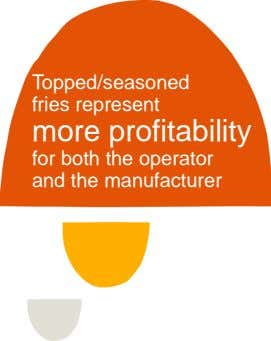 Topped/seasoned fries represent more profitability for both the operator and the manufacturer