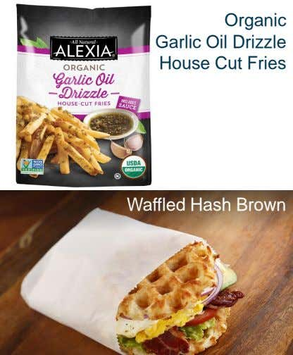Organic Garlic Oil Drizzle House Cut Fries Waffled Hash Brown