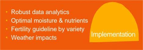 • Robust data analytics • Optimal moisture & nutrients • Fertility guideline by variety • Weather