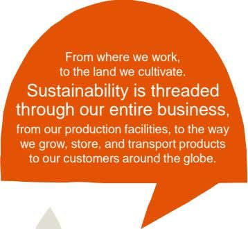 From where we work, to the land we cultivate. Sustainability is threaded through our entire business,
