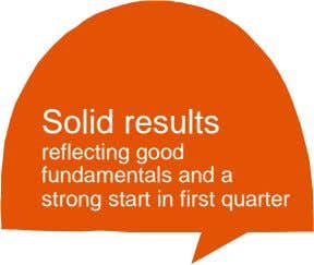 Solid results reflecting good fundamentals and a strong start in first quarter
