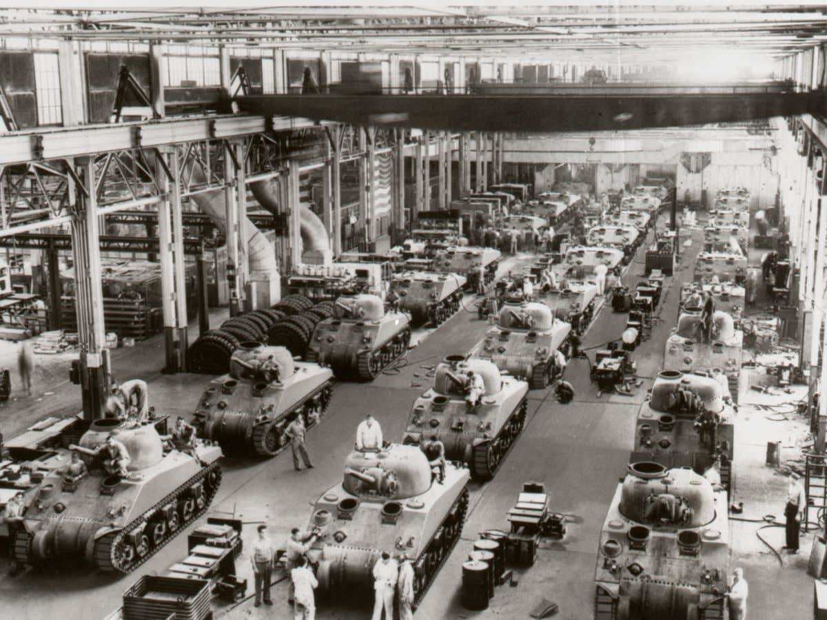 Shot of the Chrysler arsenal. Classic automotive-style mass production. Huge plant; very well organized.