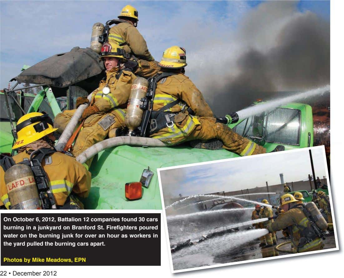 on october 6, 2012, battalion 12 companies found 30 cars burning in a junkyard on branford