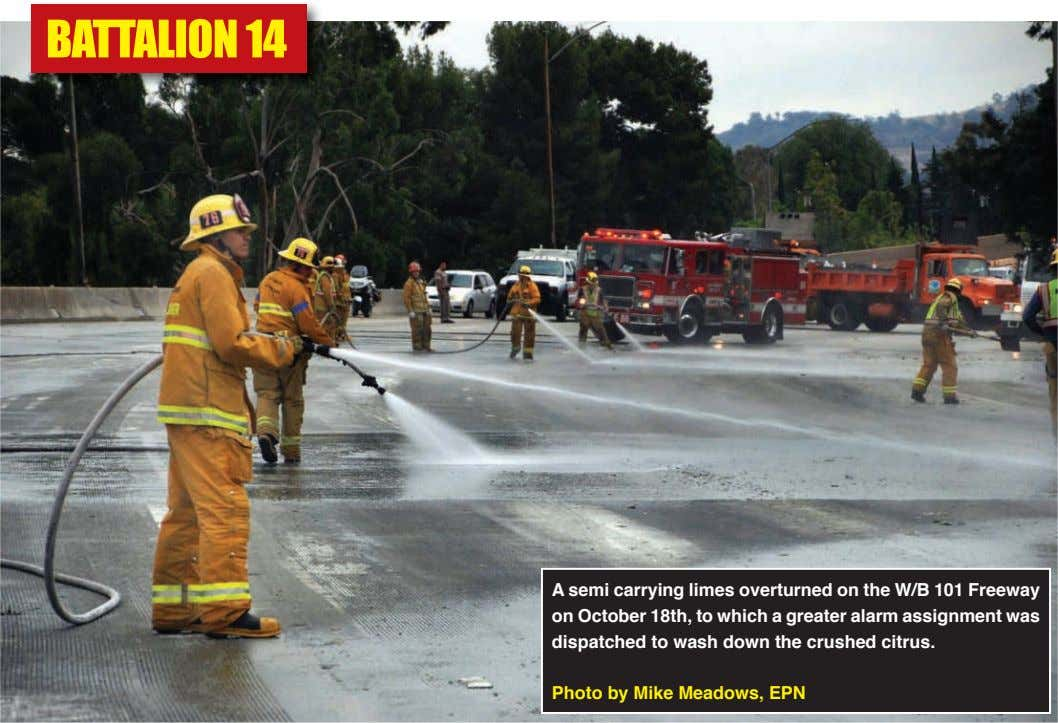 A semi carrying limes overturned on the W/b 101 Freeway on october 18th, to which a