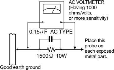 AC VOLTMETER (Having 1000 ohms/volts, or more sensitivity) 0.15 F AC TYPE Place this probe