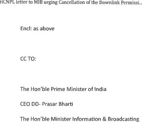 HCNPL letter to MIB urging Cancellation of the Downlink Permissi End: as above CC TO: