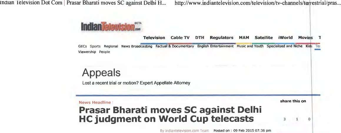 Inman television Dot Corn I Prasar Bharati moves SC against Delhi H http://www.indiantelevision.comltelevision/tv-channe