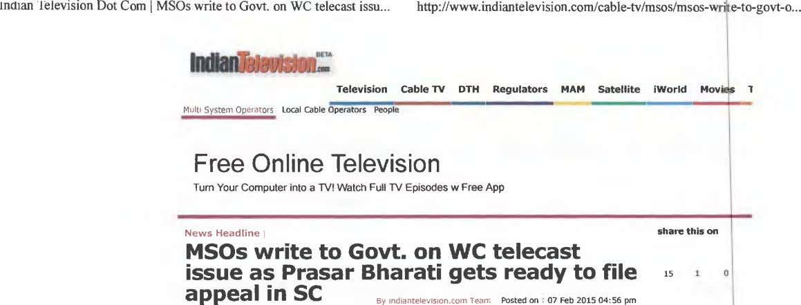 inaian lelevision Dot Corn I MSOs write to Govt. on WC telecast issu http://www.indiante BETA
