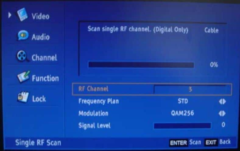 Scan: Search channels in the frequency scope set in advance. Factory Scan: According to ANTENNA-ANALOG--- 〉