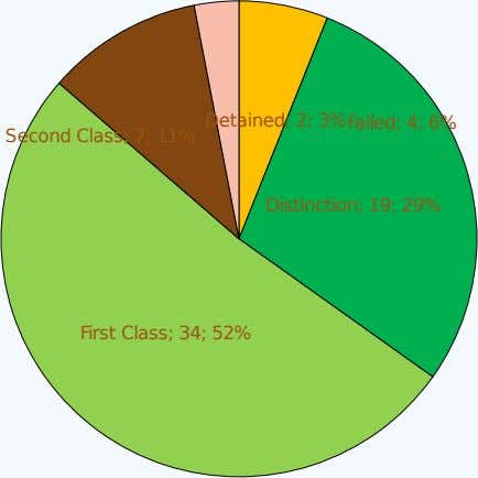 Failed; 4; 6% Second Class; 7; 11% Detained; 2; 3% Distinction; 19; 29% First Class; 34;
