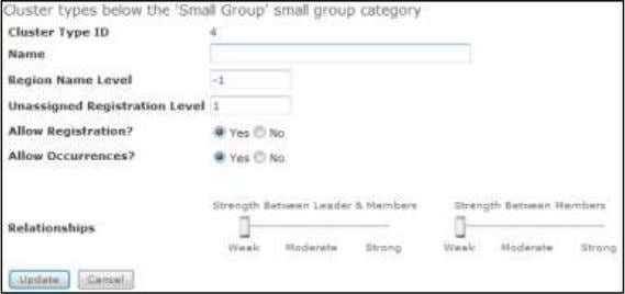 type, as shown below. Small Group Cluster Type Details  Cluster Type ID - This is