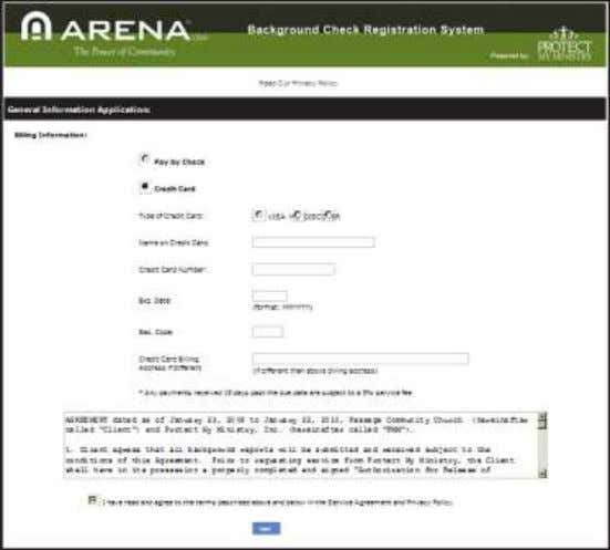 Privacy Policy. Payment option for Protect My Ministry Payment Information Arena Premium Administrator Manual V2011.1.00