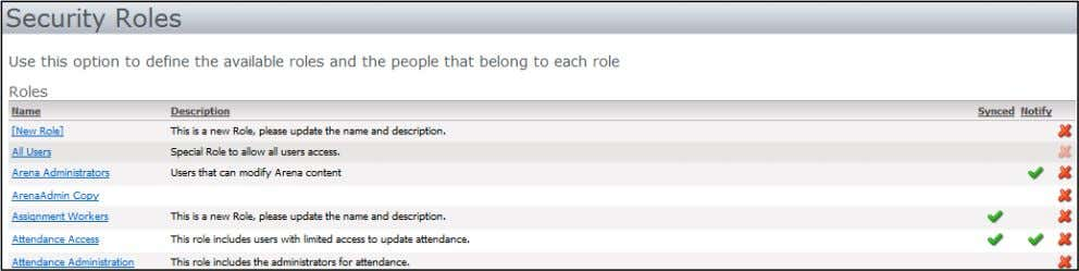 all sections that each separate Role allow. Security Roles The below Security Roles are default roles