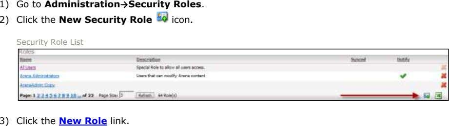1) Go to Administration→Security Roles. 2) Click the New Security Role icon. Security Role List