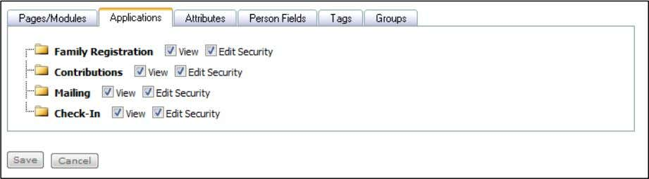 the desired permission selections for this Security Role. Applications Tab Arena Premium Administrator Manual V2011.1.00