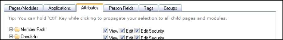 permission selections for this Security Role. Attributes Tab 6) Click the Person Fields Tab to make