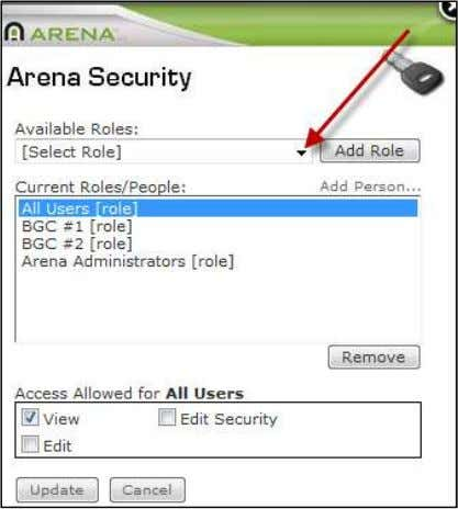 right permission is all that is required. Arena Security 7) Click Update . 8) Refresh cache