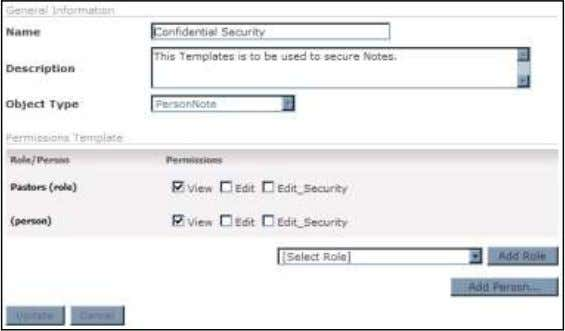 Record to add to this Security Template. Template Security 7) Click Update . Arena Premium Administrator
